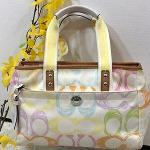 Coach Hampton Sig Scribble pastel satchel